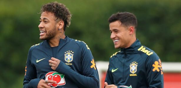 Neymar e Coutinho em ação pela seleção brasileira