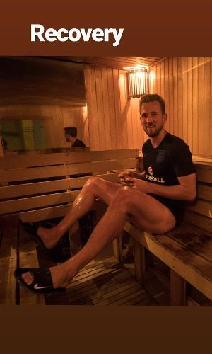 Harry Kane faz sauna neste domingo na concentração inglesa para a Copa do Mundo