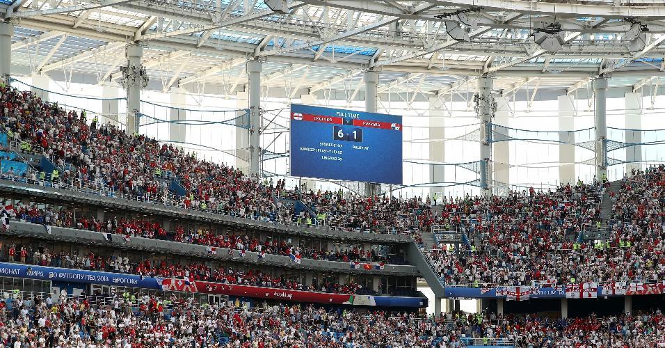 Placar em Nizhny Novgorod registra o 6 a 1 para Inglaterra