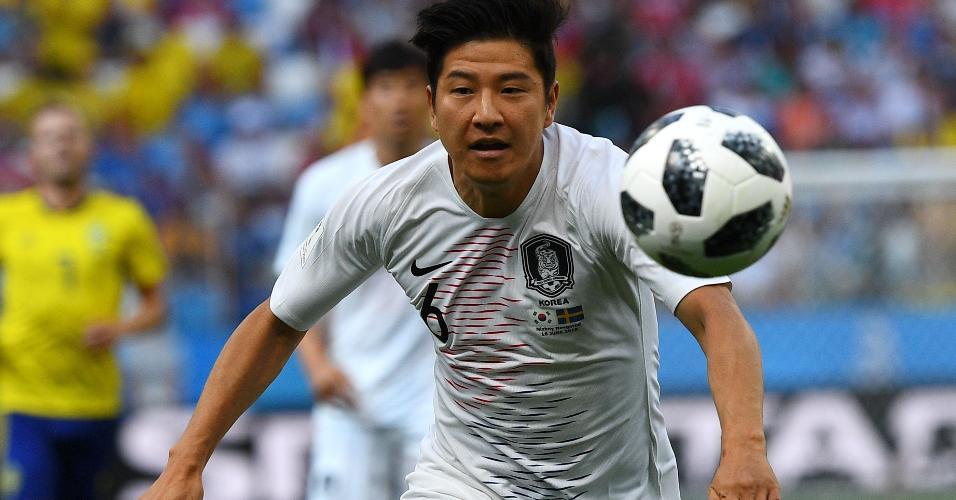 Park Joo-ho, da Coreia do Sul, na partida contra a Suécia em Nizhny Novgorod