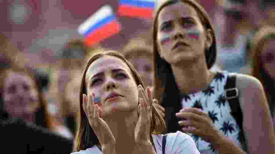 Torcedoras assistem a jogo da Rússia na Copa do Mundo - AFP