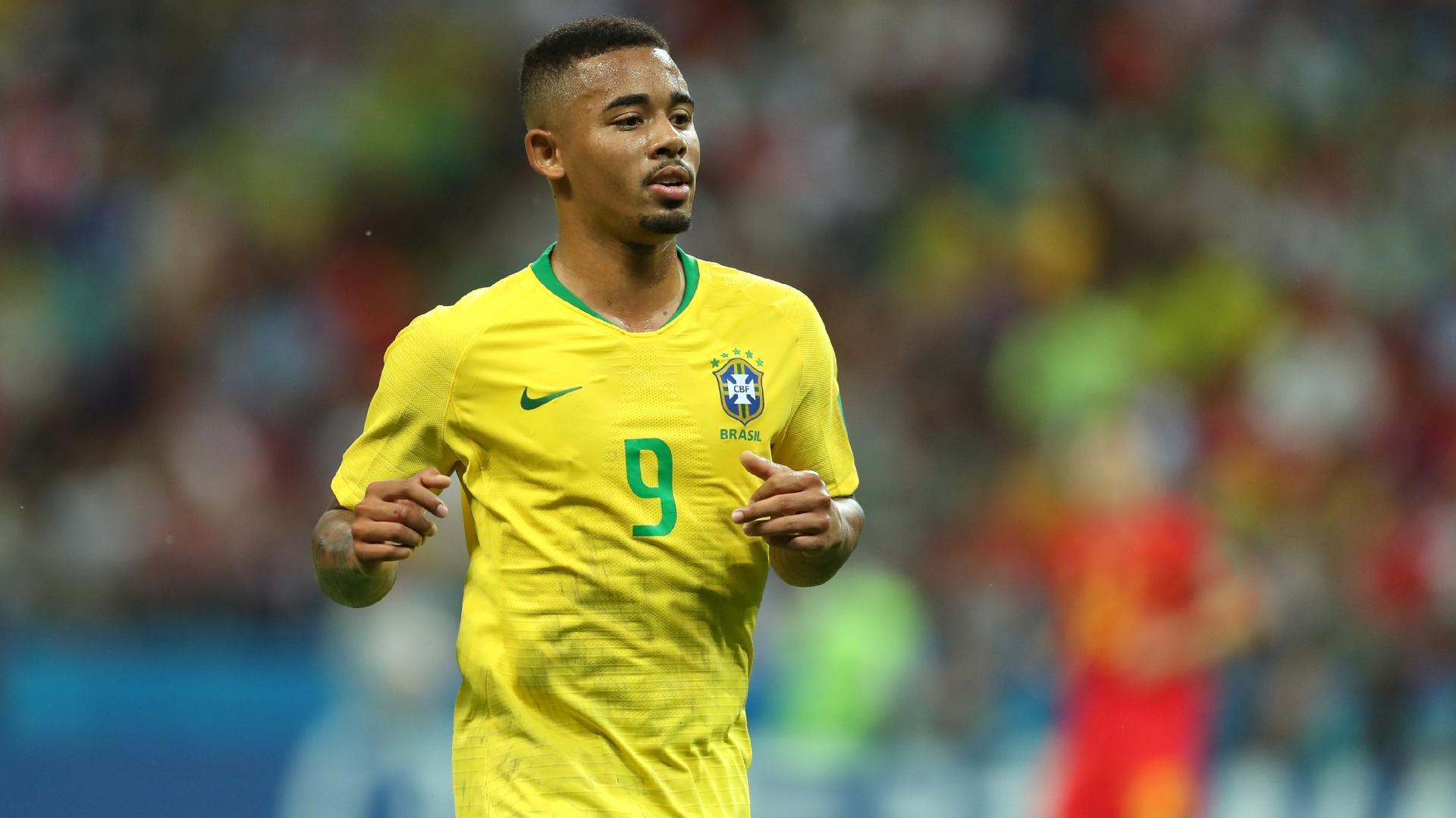 Gabriel Jesus durante o jogo contra a Bélgica, pelas quartas de final