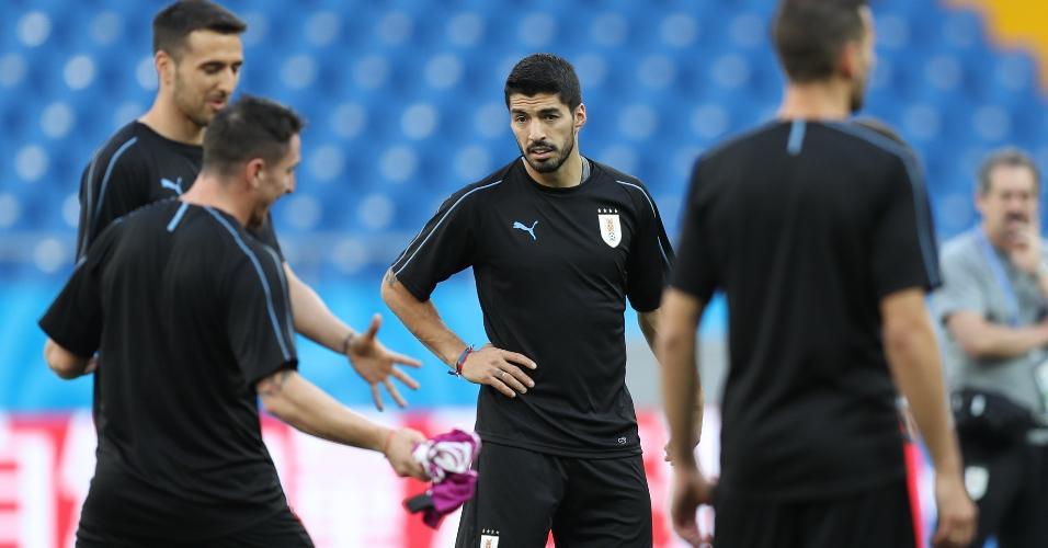 Luis Suárez durante treino do Uruguai antes da segunda partida na Copa do Mundo
