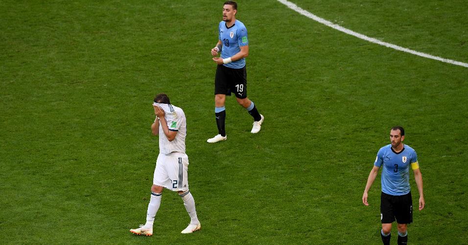 Artem Dzyuba, da Rússia, lamenta perder boa chance para a Rússia em jogo contra o Uruguai