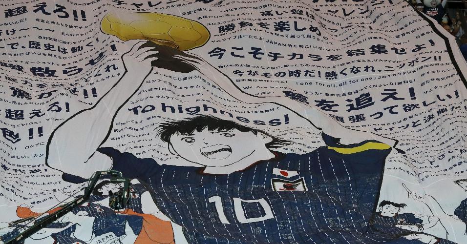 Bandeirão no jogo entre Japão e Bélgica