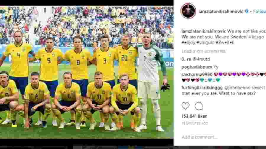 Ibrahimovic manda mensagem para seleção sueca antes de jogo contra Inglaterra - Reprodução/Instagram