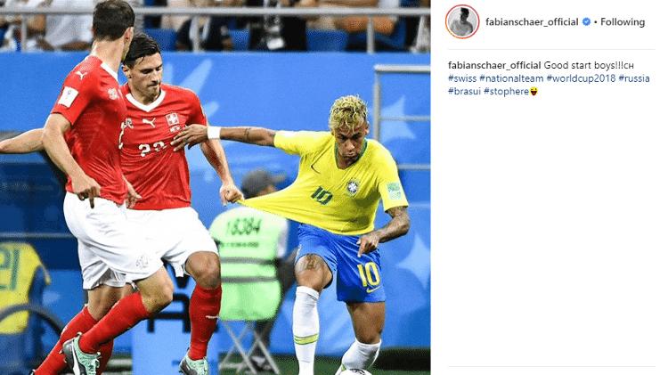 Fabian Schar celebra empate e marcação em Neymar: 'Parou aqui' - Reprodução/Instagram