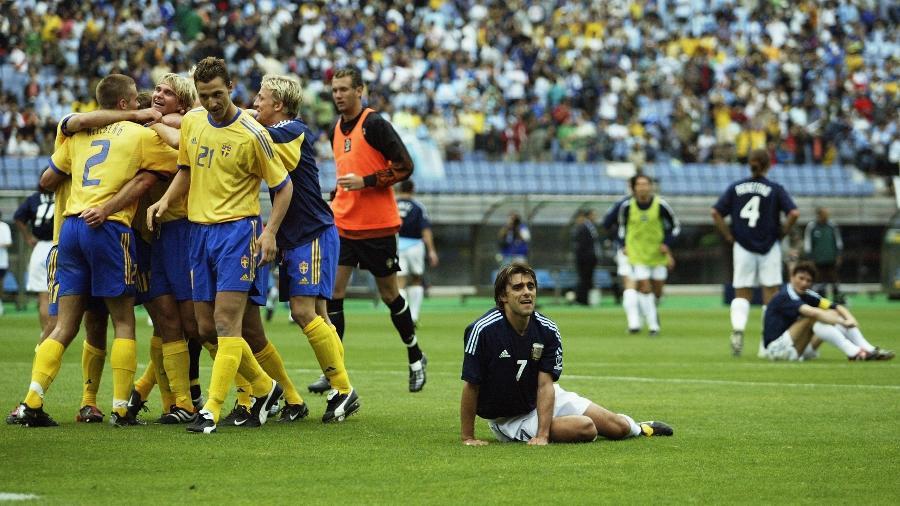 Em 2002, argentinos se despediram com empate diante da Suécia; agora, lutam para não repetir desempenho - Laurence Griffiths/Getty Images