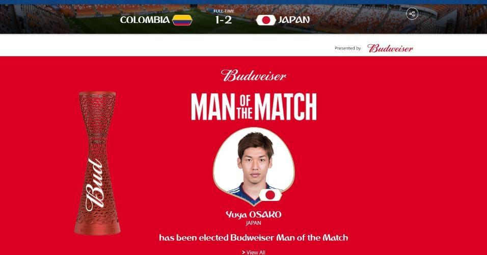 Osako foi eleito o homem do jogo entre Colômbia x Japão