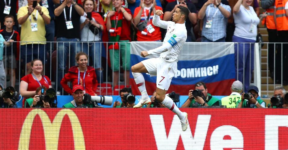 Cristiano Ronaldo comemora gol em Portugal x Marrocos