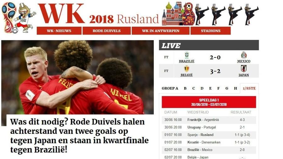 """Manchete da """"Gazet Van Antwerpen"""" destaca classificação suada da Bélgica - Reprodução"""