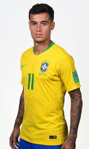 Philippe Coutinho, meia do Brasil, no retrato oficial para a Copa do Mundo