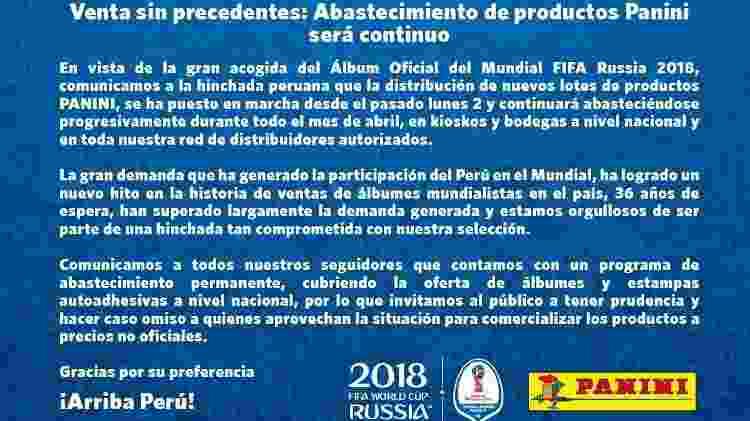 Divisão peruana da Panini se manifesta sobre falta de figurinhas nas lojas - reprodução