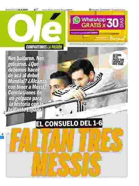 Capa do Olé sobre a derrota sofrida pela Argentina - Reprodução