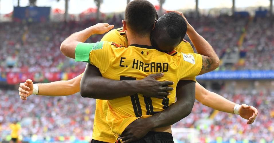 Eden Hazard e Romelu Lukaku marcaram dois gols cada no duelo Bélgica x Tunísia