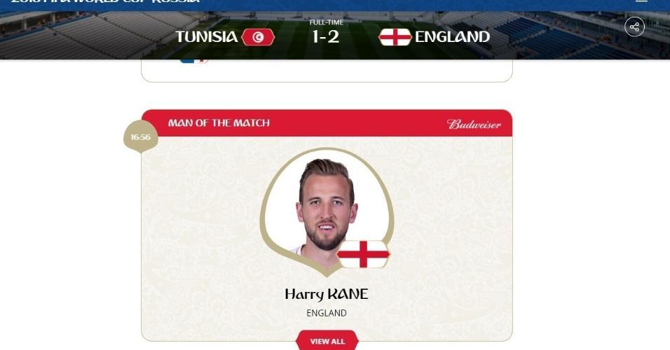 Harry Kane é eleito o melhor jogador da partida Tunísia x Inglaterra