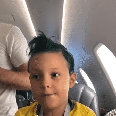 Davi Lucca, filho de Neymar, com o cabelo verde antes de jogo contra Sérvia na Copa - Reprodução/Instagram - Reprodução/Instagram