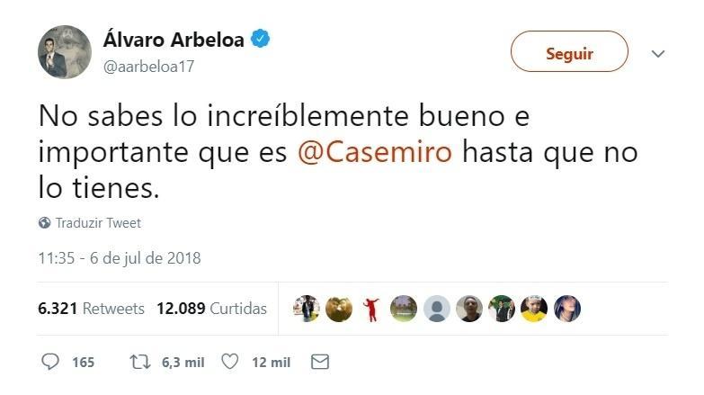 Ex-companheiro de Casemiro, Álvaro Arbeloa exalta volante: