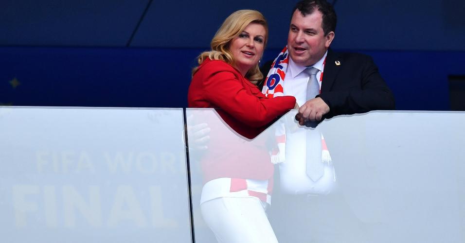 Presidente da Croácia, Kolinda Grabar-Kitarovic, antes de duelo contra a França pela final da Copa do Mundo da Rússia