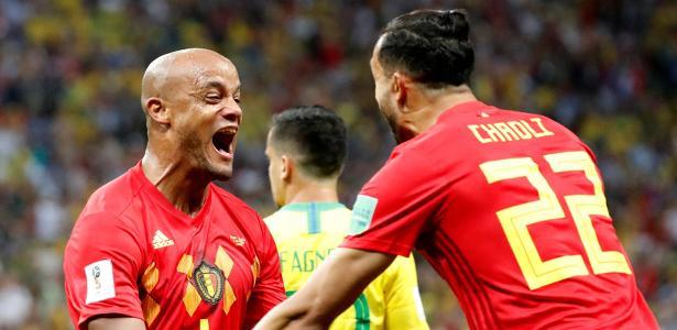 Kompany comemora gol da Bélgica sobre o Brasil