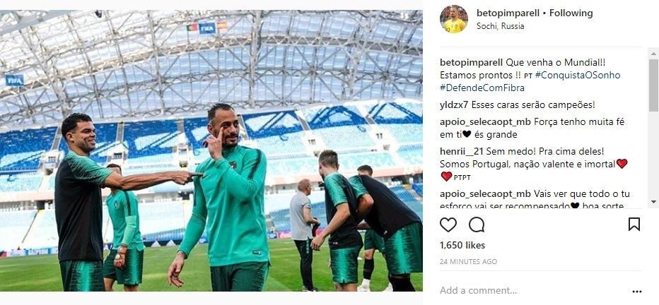 Goleiro de Portugal posta foto com Pepe: