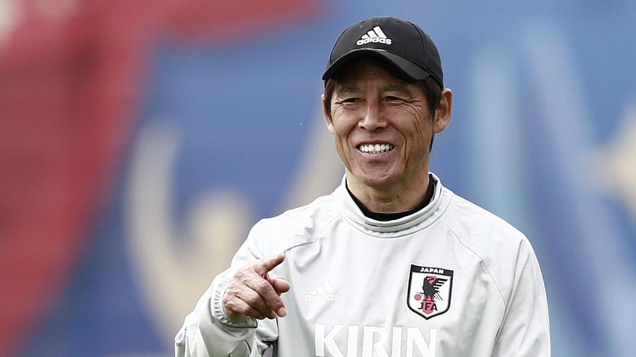 Técnico do Japão, Akira Nishino, durante treino da seleção na Rússia  - AFP PHOTO / Benjamin CREMEL