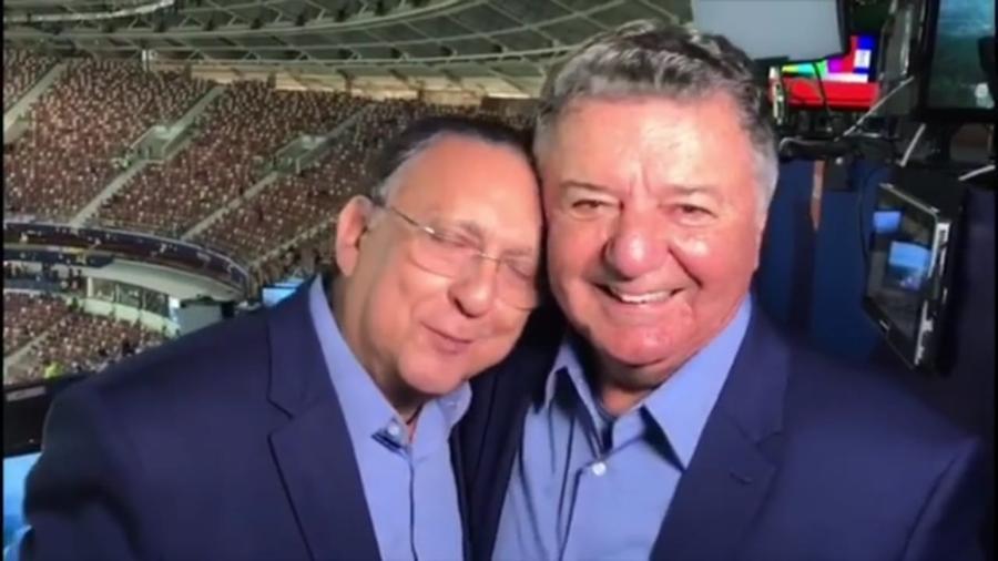 Galvão Bueno e Arnaldo Cezar Coelho após a final da Copa do Mundo de 2018 - Reprodução/Instagram