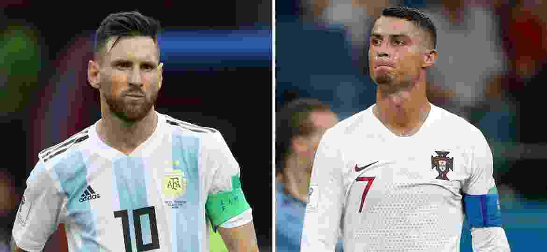 Argentina e Portugal foram eliminados nas oitavas de final da Copa por França e Uruguai, respectivamente - Montagem sobre Roman Kruchinin e Adrian Dennis/AFP