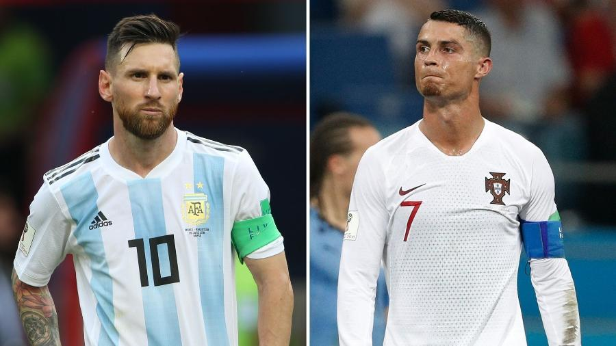 Diferente do que aconteceu na versão passada, Messi desbancou Cristiano Ronaldo e será o melhor jogador do FIFA 2020 - Montagem sobre Roman Kruchinin e Adrian Dennis/AFP