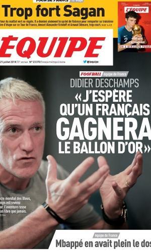 Capa do L'Équipe deste sábado