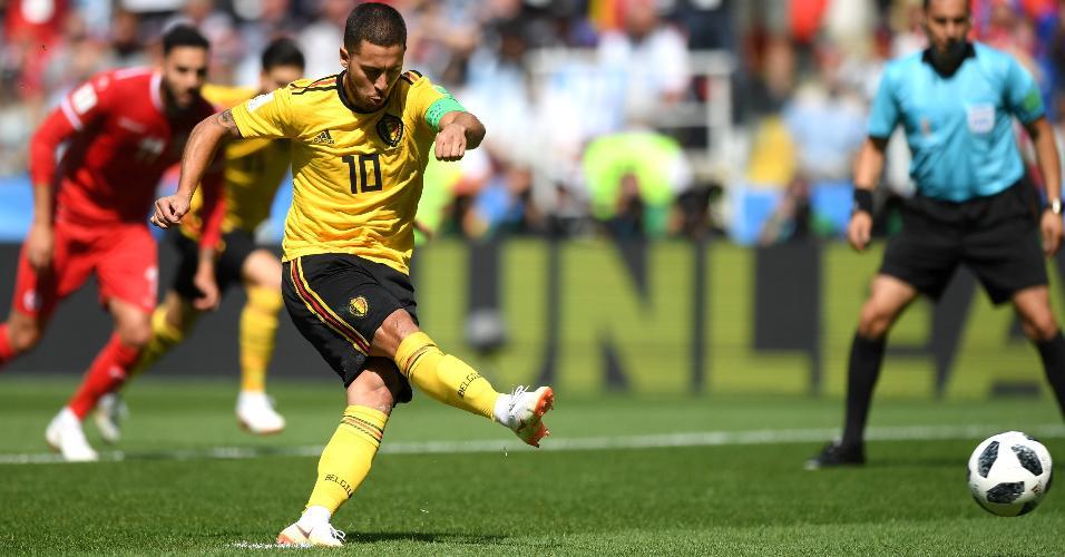 Eden Hazard cobra pênalti e abre marcador de Bélgica x Tunísia