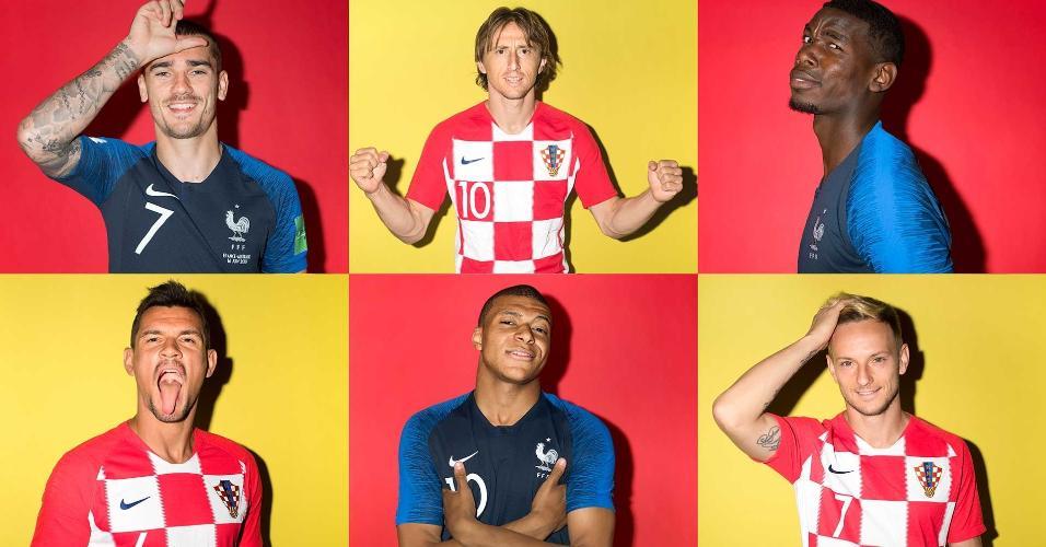 Montagem com retratos de França e Croácia