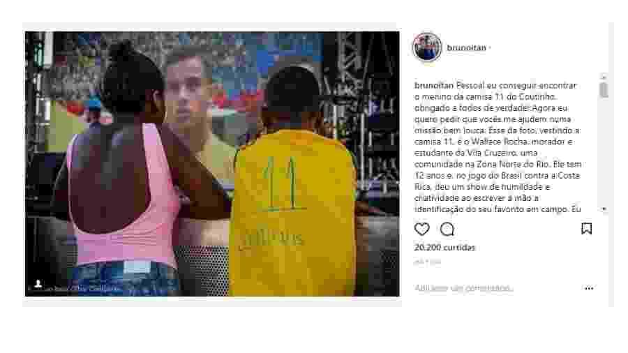 Menino improvisa a camisa de Philippe Coutinho - Reprodução/Instagram
