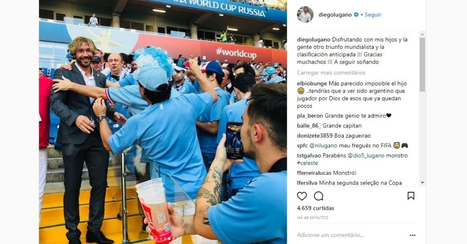 Lugano vai a estádio assistir ao jogo do Uruguai, e torcedores tietam