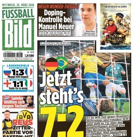 Jornal Bild ironiza vitória do Brasil sobre Alemanha com placar agregado com semi da Copa  - Reprodução