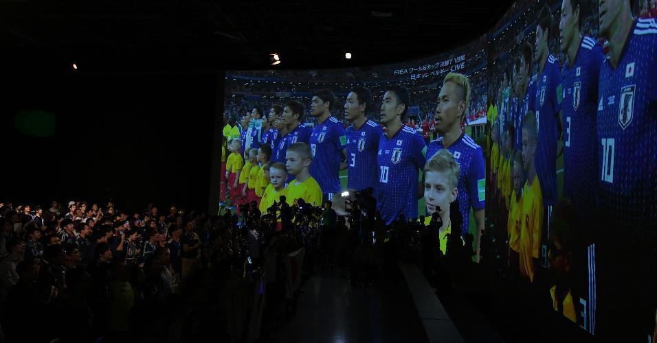 Japoneses assistem a jogo contra Bélgica em cinema