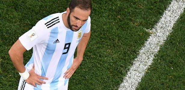 Higuaín em ação em jogo da Argentina contra a Croácia - Kirill Kudryavtsev/AFP