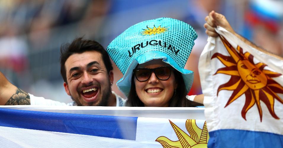 Torcedores do Uruguai no estádio de Samara para o jogo contra a Rússia