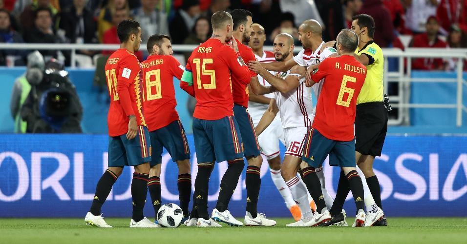Sergio Ramos confusão Espanha Marrocos Copa do Mundo