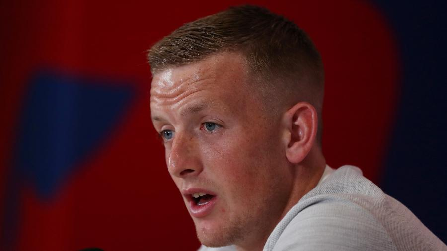 Jordan Pickford, durante entrevista coletiva da Inglaterra - REUTERS/Lee Smith