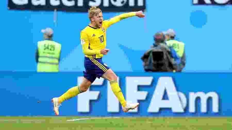 Forsberg comemora após abrir o placar para a Suécia contra a Suíça pela Copa do Mundo - Alexander Hassenstein/Getty Images