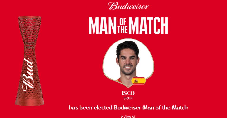 Após marcar o primeiro gol da Espanha e distribuir bons passes, Isco é eleito o melhor jogador da partida contra o Marrocos