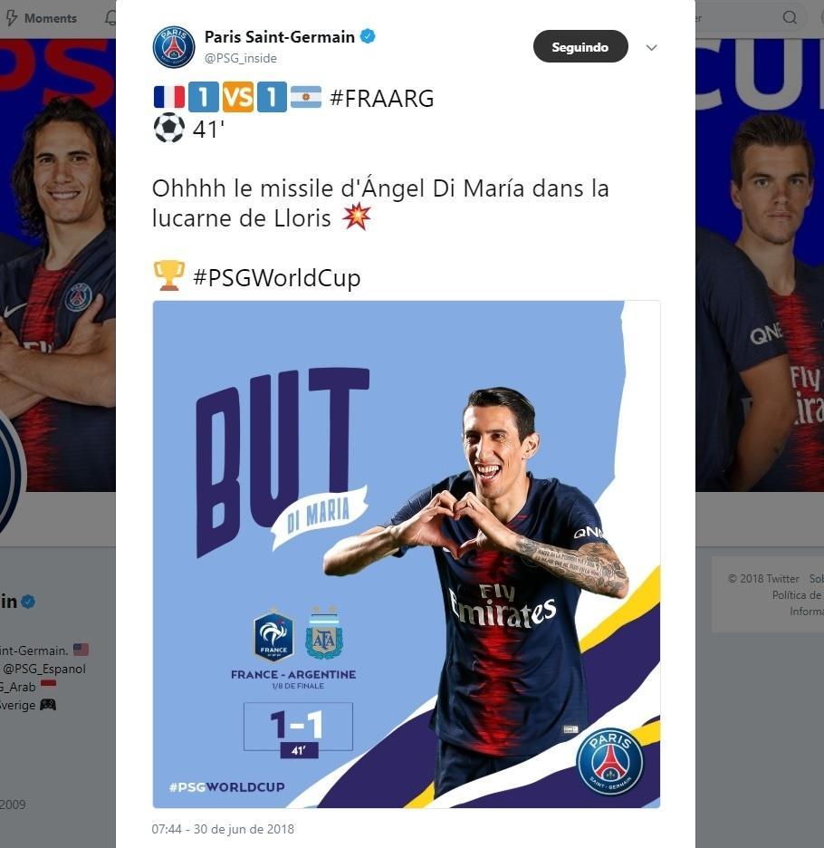 Ficou estranho? PSG exalta gol de Di María contra a França