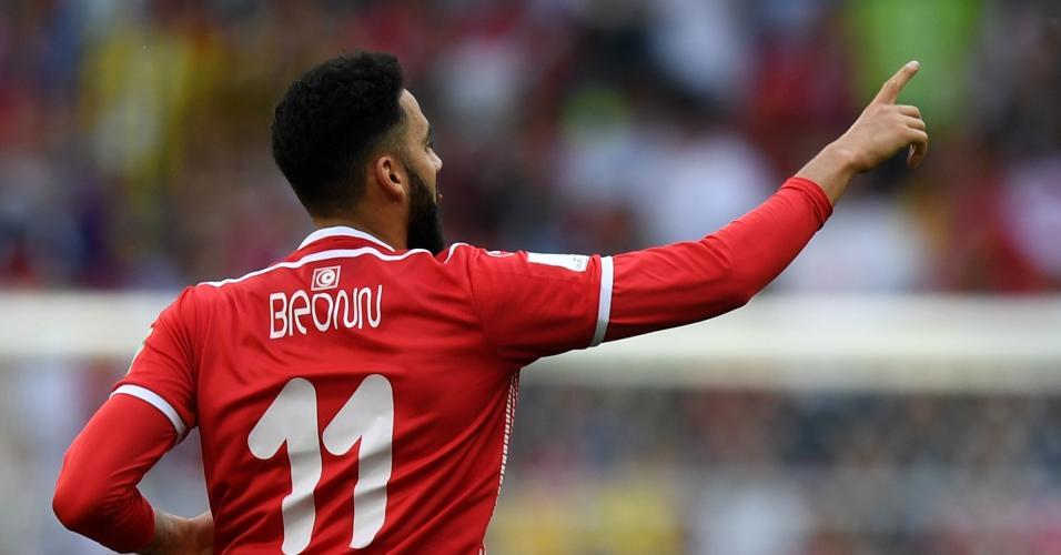 Dylan Bronn comemora gol na partida Bélgica x Tunísia