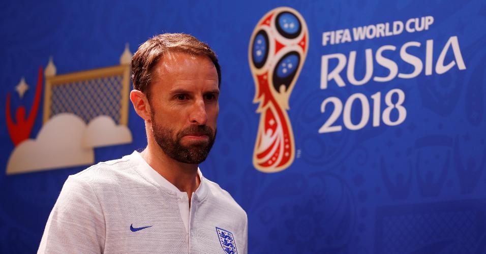 Gareth Southgate, técnico da Inglaterra, participa de entrevista coletiva