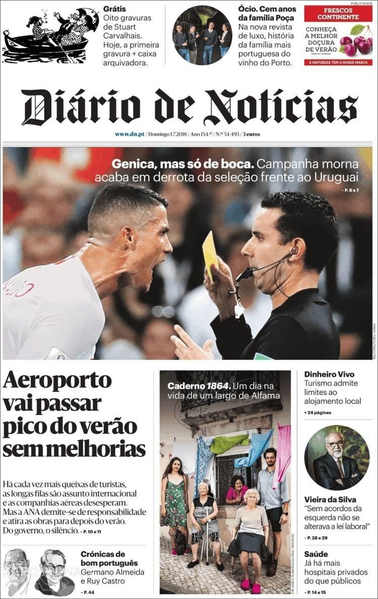 Reprodução Jornal Diário de Notícias do dia 1/7