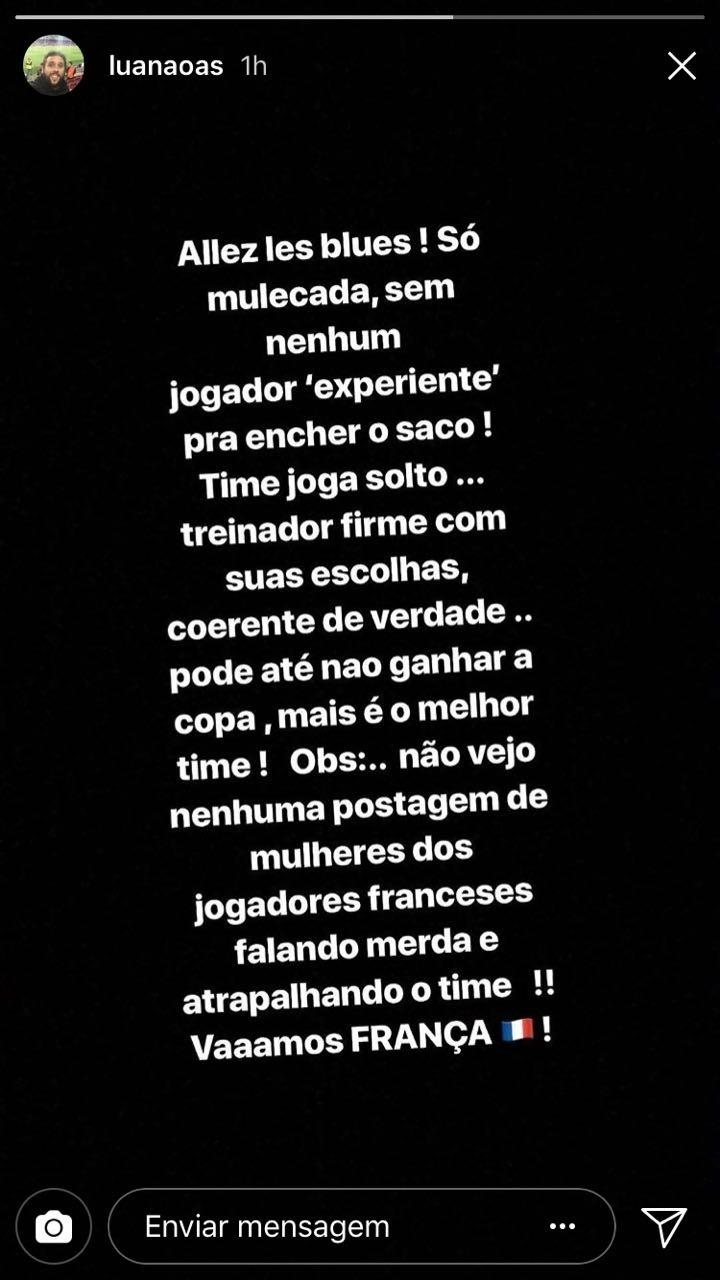 Luan, irmão do zagueiro Marquinhos, dá indireta na seleção brasileira