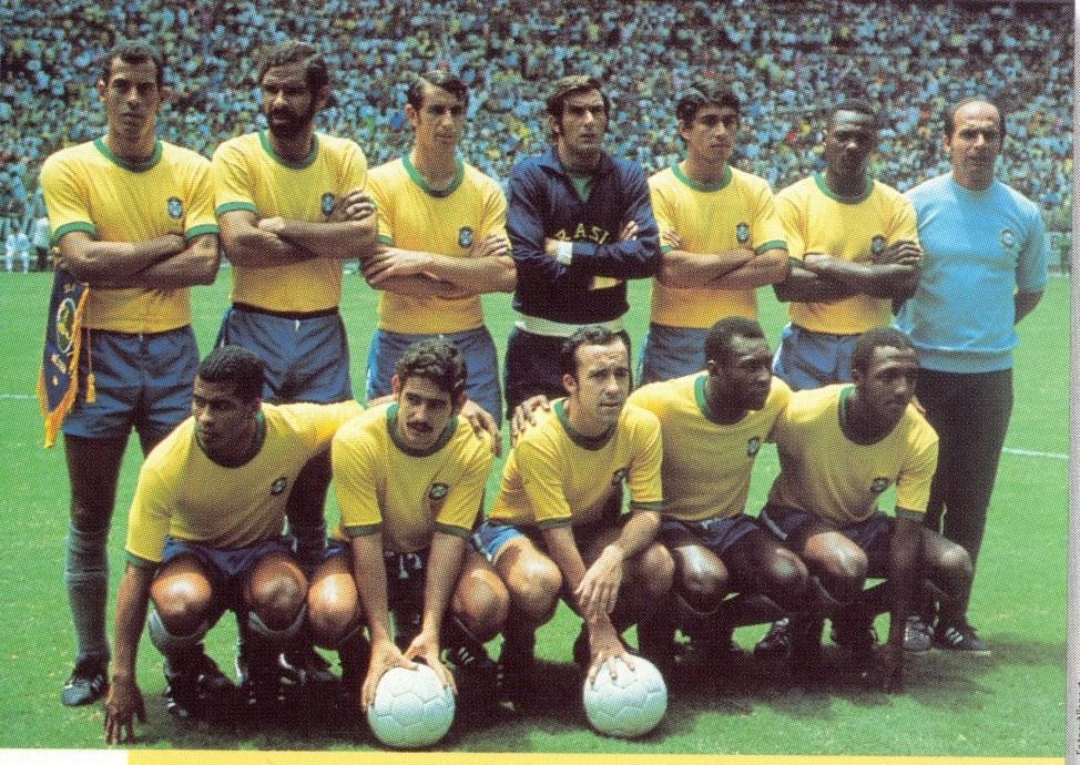 Jogadores da seleção brasileira posam para a foto antes da final da Copa de 1970