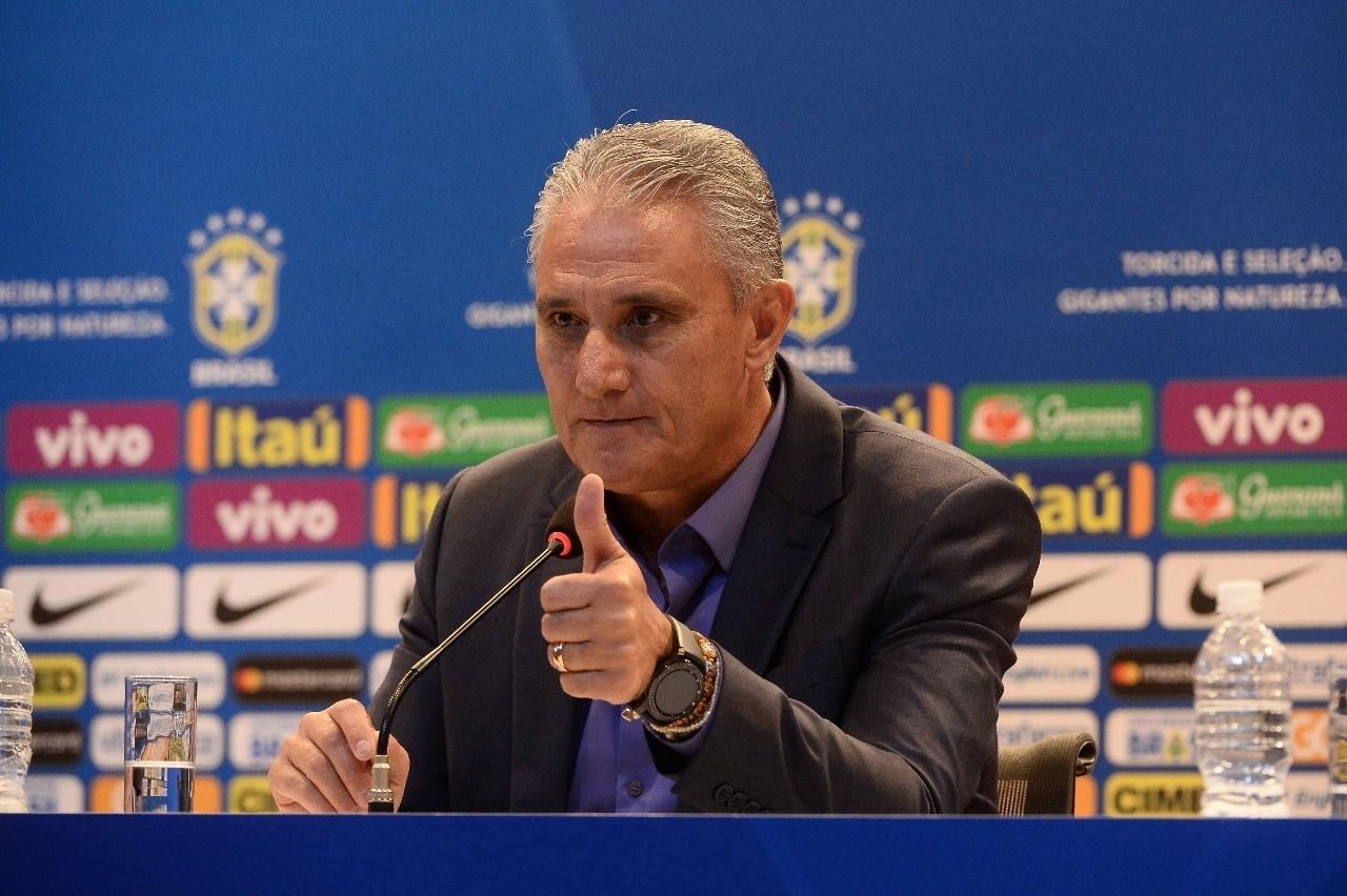 Tite, durante anúncio da convocação da seleção brasileira