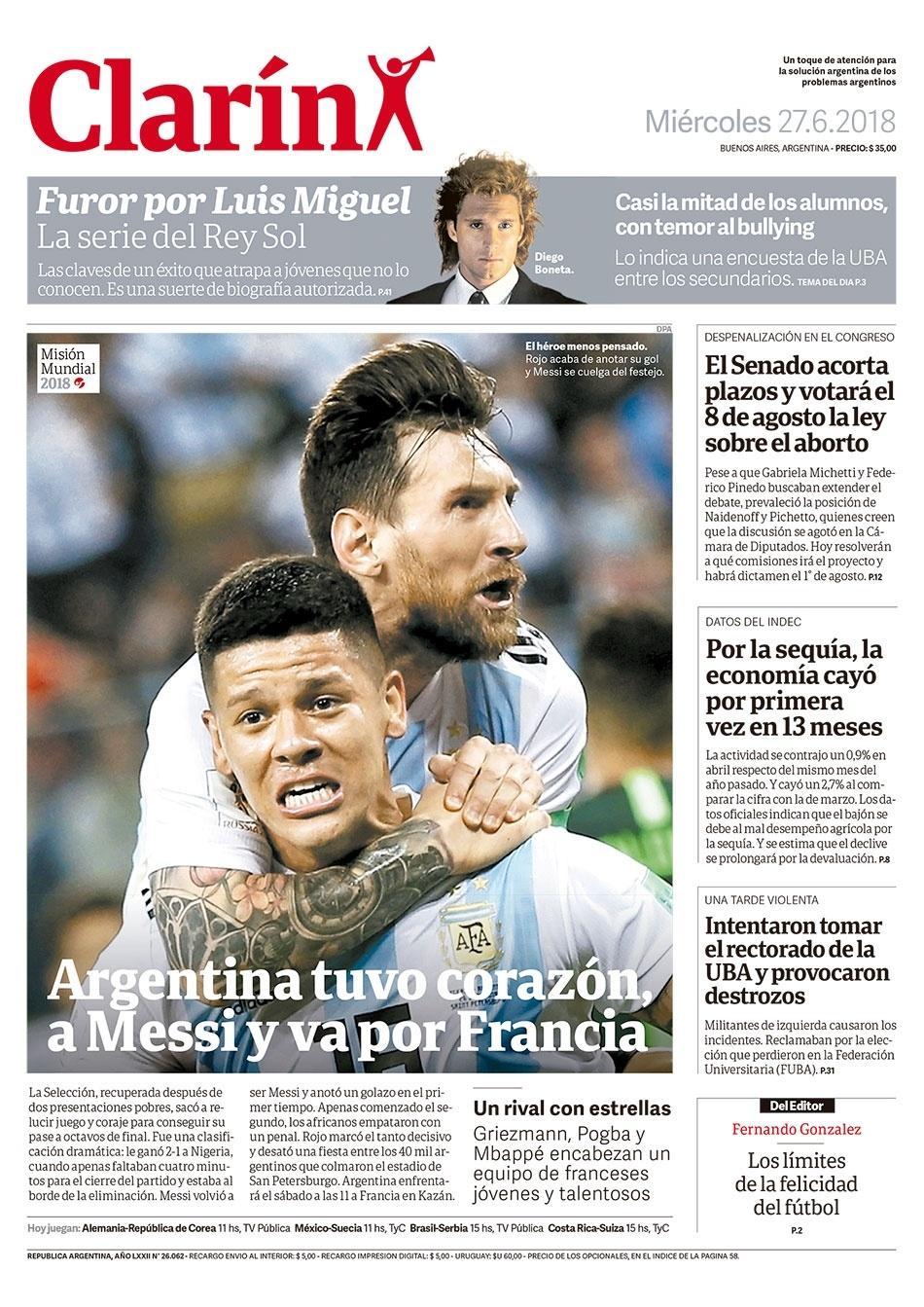 Reprodução do jornal Clarin após vitória da Argentina sobre a Nigéria